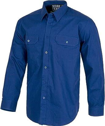 Camisa de Trabajo con Manga Larga y Bolsillos: Amazon.es: Ropa y accesorios