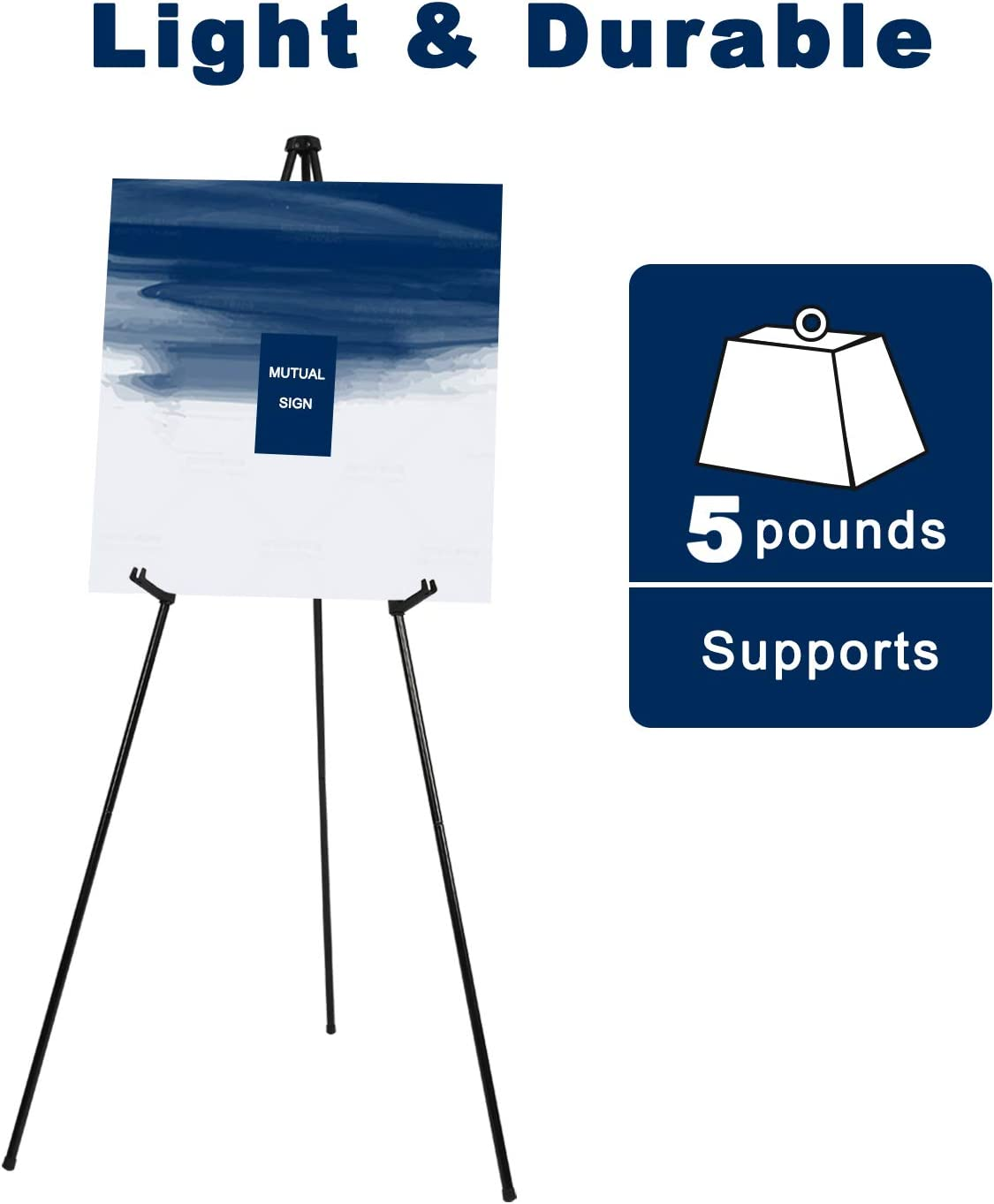 Presentations Posters Art Displays Folding Easel,Portable Tripod,Black Floor Standing Poster Easel,Lightweight Metal Adjustable Display Easel,Base 63 Max,Collapsible Easel for Trade Shows