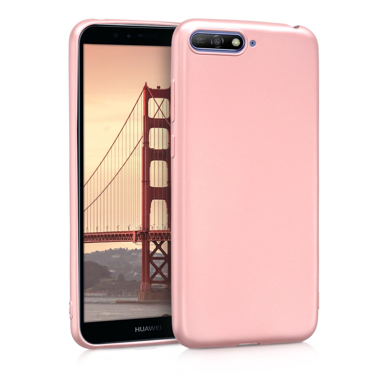 kwmobile TPU Silicone Case for Huawei Y6 (2018) - Soft Flexible Shock Absorbent Protective Phone Cover - Metallic Rose Gold