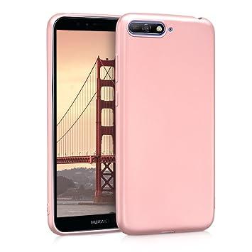 kwmobile Funda para Huawei Y6 (2018) - Carcasa para móvil en TPU Silicona - Protector Trasero en Oro Rosa Metalizado