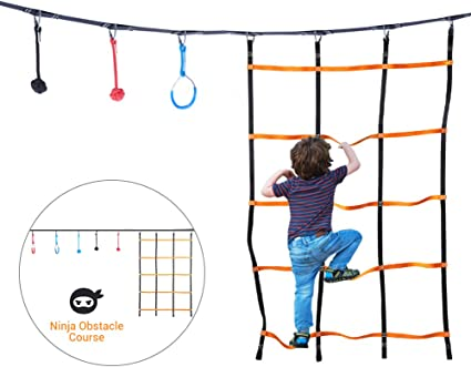 Amazon.com : Ninja Hanging Obstacle Course, Jungle Gym Kids ...