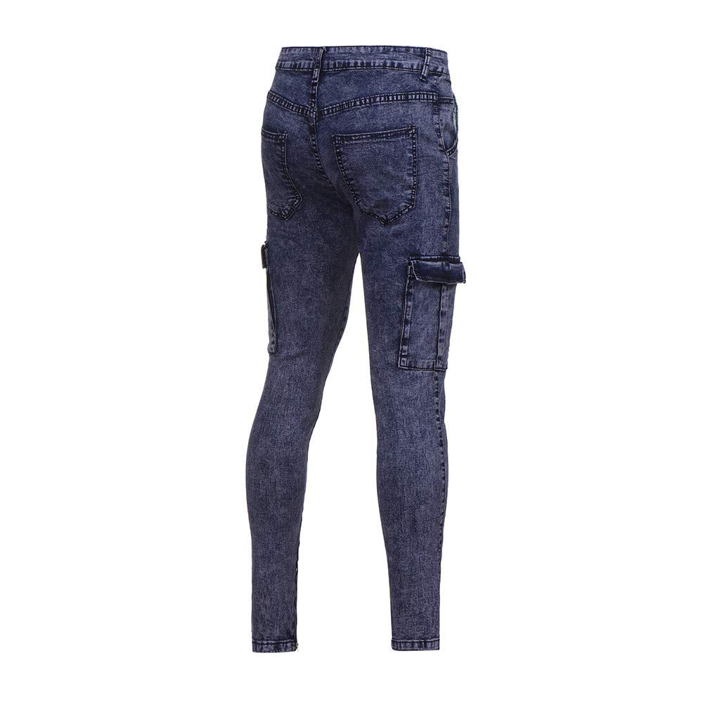 LEERYAAY Cargo/&Chinos Mens Stretch Denim Pant Distressed Ripped Freyed Slim Fit Pocket Jeans Trousers