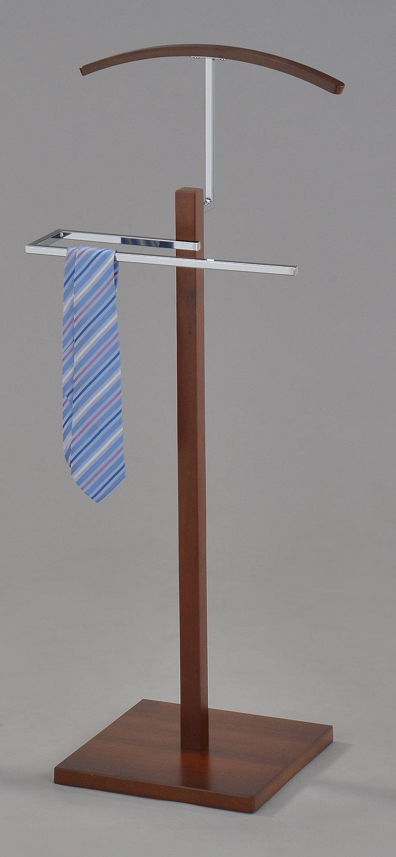 Kings Brand Furniture Chrome Suit Rack Valet Stand (Walnut)