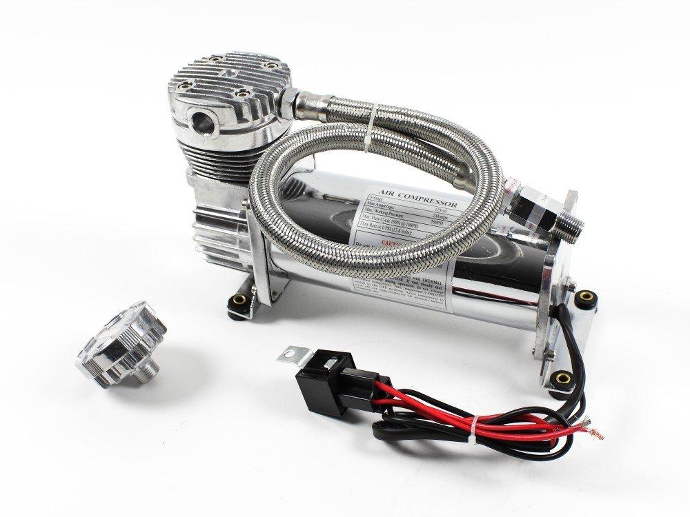 Airride Compressor 380/381 Air Suspension 12 V 1/4 NPT 200psi Chrome 1099134 X-Parts