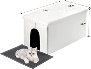 MEEXPAWS cat Litter Box Enclosure Furniture Hidden, Cat washroom Bench Storage Cabinet | Large Space | Dog Proof | Easy Clean/Assembly | Cat Litter mat