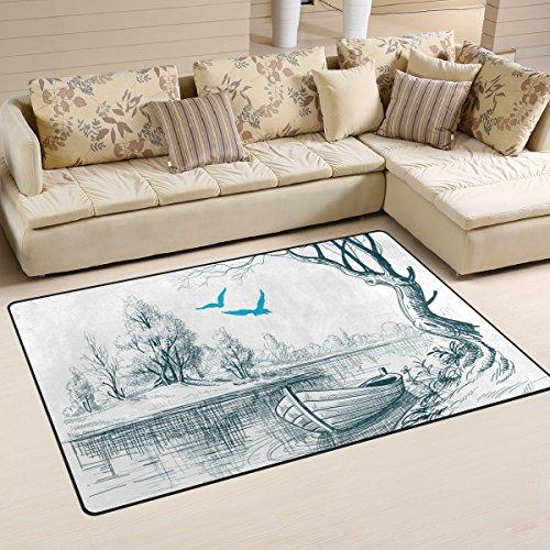 DEYYA Boat On River Delta Area Rug Carpet Non-Slip Floor Mat Doormats for Living Room Bedroom 60 x 39 inches -