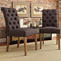 ModHaus Modern Dark Gray Linen Button Tufted Parsons Style Dining Chairs | Wood Finish Wooden Legs - Set of 2 Includes ModHaus Living (TM) Pen