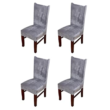 Hemons 4 X Universal Stretch Fox Pile Fabric Chair Covers Removable Washable Ceremony Hotel Dining Room