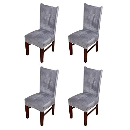 Zhihong 4pcs Universal Stretch Fox Pile Fabric Chair Covers Removable Washable Ceremony Hotel Dining Room Kitchen