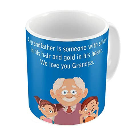 Indigifts Grandfather Birthday Gifts Love You Grandpa Quote Cute Grandfather and Children Illustration Blue Coffee Mug  sc 1 st  Amazon.in & Buy Indigifts Grandfather Birthday Gifts Love You Grandpa Quote Cute ...