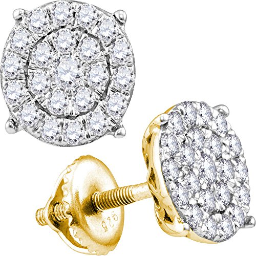 14kt Yellow Gold Womens Round Diamond Concentric Circle Cluster Stud Earrings 2.00 Cttw (Earrings Birthstone Cluster 14kt Gold)
