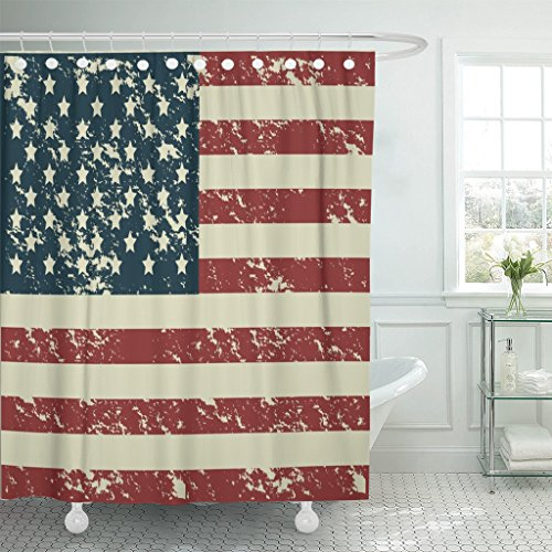 Emvency Shower Curtain Blue Americana Patriot United States