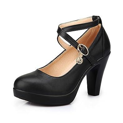 KALENDS Damen Echtleder Plus Größe Schnalle High Heels Arbeit Schuhe Pumpen, Schwarz - Schwarz - Größe: 37.5