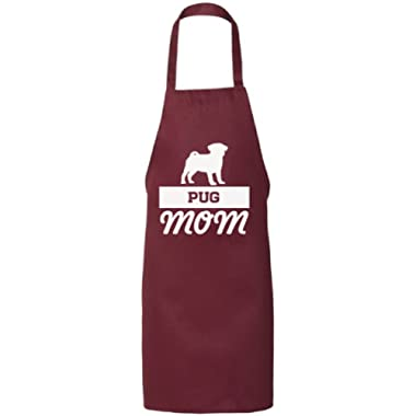 Awkward Styles Pug Mom Aprons for Mom Kitchen Aprons Dog Mom Gifts Dog Lovers Maroon One Size
