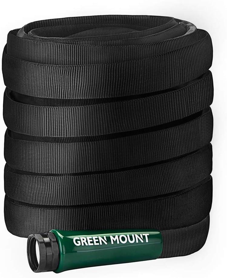 GREEN MOUNT Heavy Duty Garden Hose 50ft, Lightweight Water Hose with 5/8 Inch Fittings
