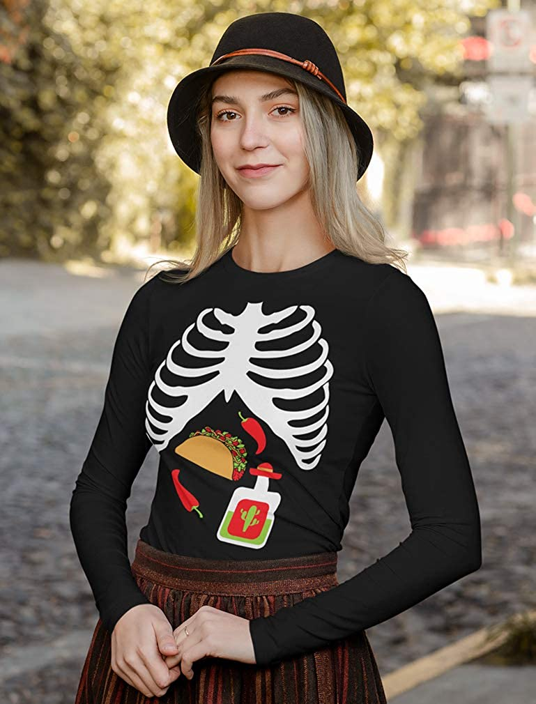 Halloween Easy Costume Skeleton Rib Cage Xray Taco /& Tequila Women Sweatshirt
