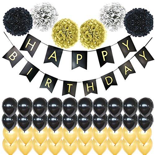 Slocyclub 47PCS Birthday Party Decoration-Happy Birthday Banner-40 Party Balloons -6 Paper Pom Poms ()