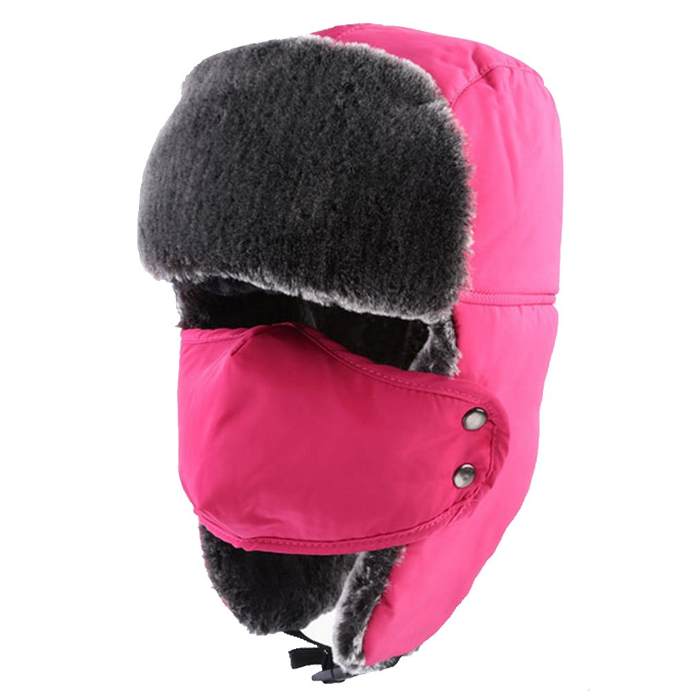 Unisex Winter Warm Thick Faux Fur Windproof Splashproof Motorcycle Ski Snowboard Hat Cap Face Ear Neck Warmer Hat with Breathable Mask