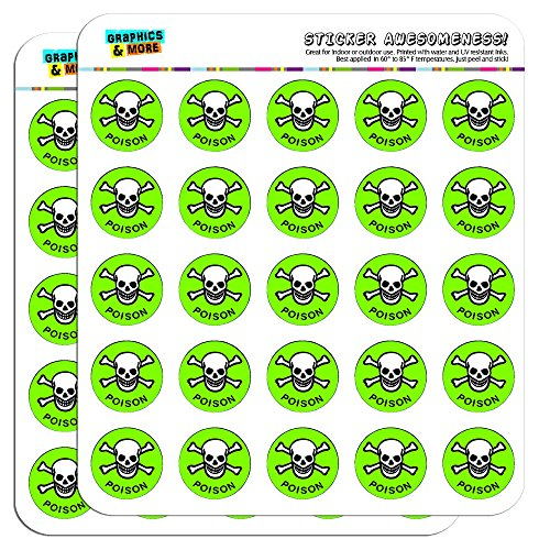 "Poison Skull And Crossbones 1"" Planner Calendar Scrapbooking Crafting Stickers - Opaque"