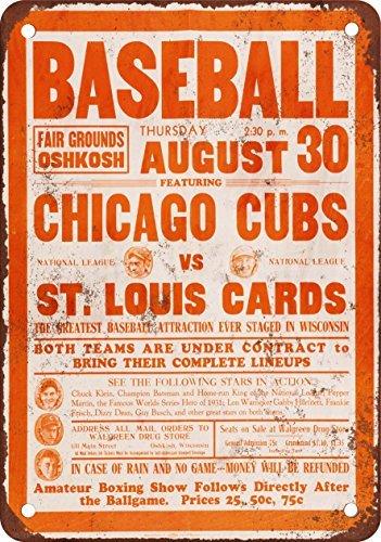 1934 Cubs vs. Cardinals at Oshkosh Vintage Look Reproduction Metal Tin Sign 8X12 Inches (Lake Arrowhead Tin Sign)