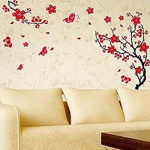 YESURPRISE Vinilo Decorativo Adhesivo Pegatina Pared Salón y Dormitorio Flor de Ciruelo Color Rojo
