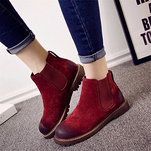 Lazy Ladies Eu Retro Short Pedal DIDIDD and Color Winter Pu Low One Shoes Double Boots Heel 36 Autumn Elastic 7qdwxxfUg