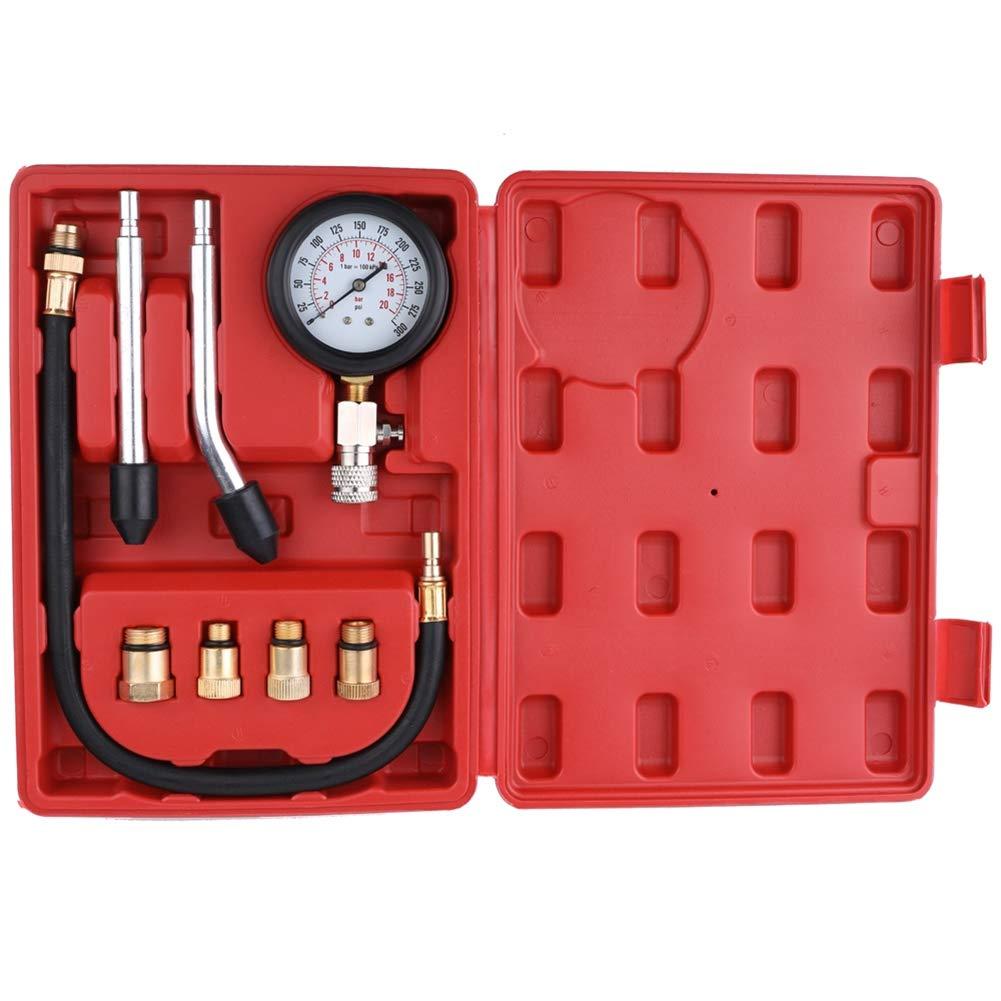 Detector de Fugas de compresi/ón de Cilindro de Coche kaakaeu Kit de comprobador de compresi/ón de Gasolina para veh/ículo probador de Motor de Gasolina con Caja