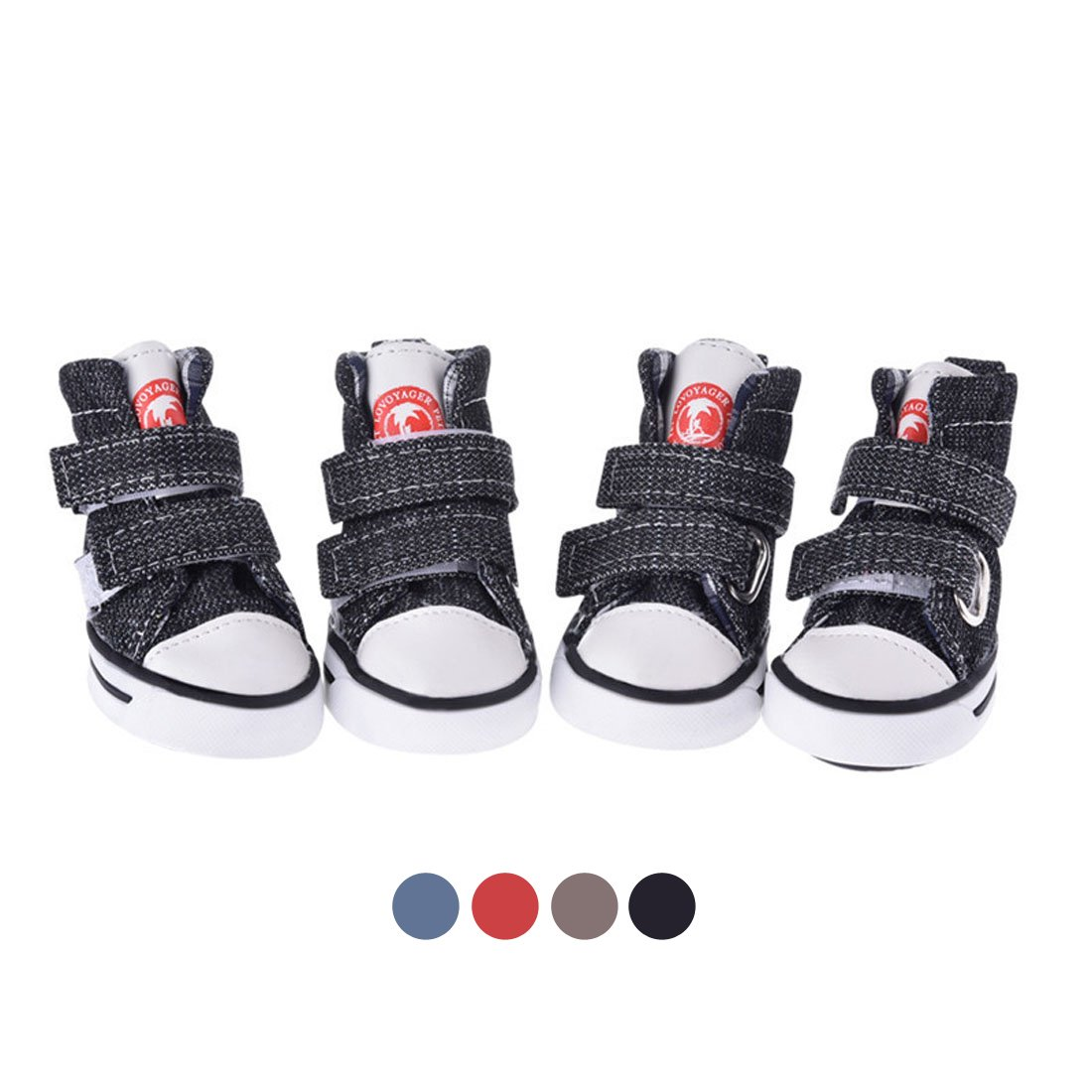 Gabefish Dog Shoes Sneaker Pet Velcro Canvas Shoes Chihuahua Puppy Nonslip Boots Sport Anti-Slip Paw Protector Black Medium