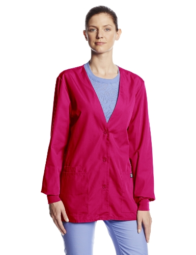 - Cherokee Women's Workwear Scrubs Cardigan Warm-Up Jacket, Raspberry, Medium