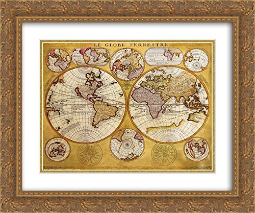 Antique Map - Globe Terrestre 2X Matted 20x24 Gold Ornate Framed Art Print by Coronelli ()