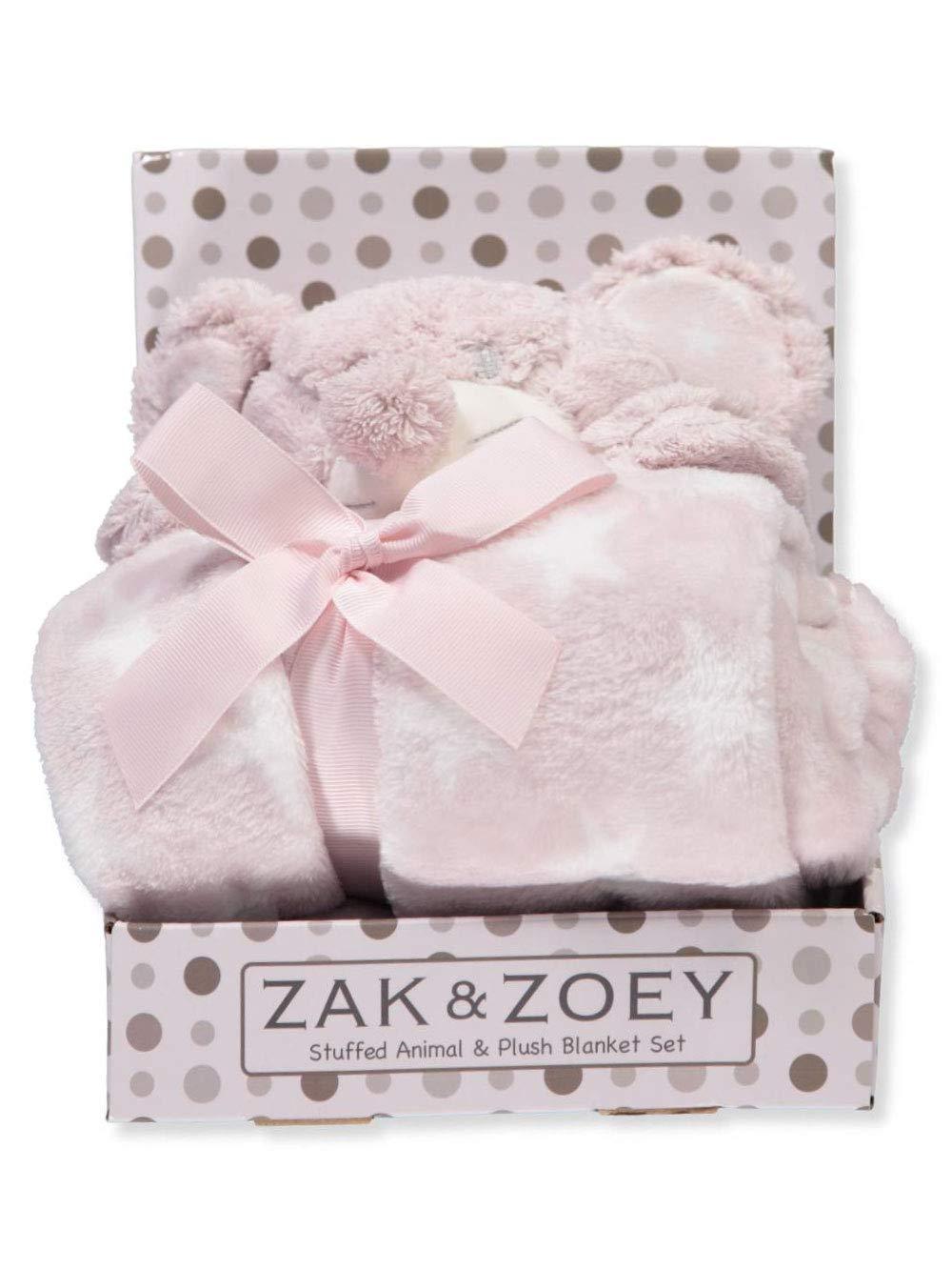 Zak and Zoey 2 Piece Warm Plush 30 X 30 Baby Security Sleep Blanket Stuffed Animal Set Pink Mouse Zac & Zoey AZZZY2011