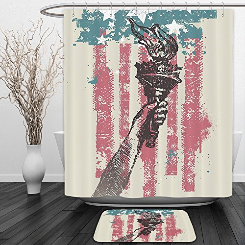 Vipsung Shower Curtain And Ground MatAmerican Flag Decor by Abstract Usa Patriot Sign 4th of July Country Coat of Arms Decor Pink Light BlueShower Curtain Set with Bath Mats Rugs