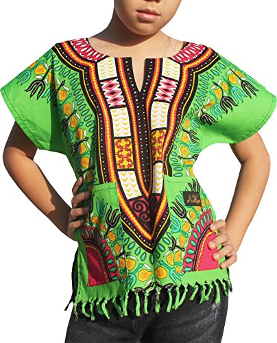 - Raan Pah Muang Branded Cotton Childs Dashiki Shirt Tassels and Pockets Bold Colours, 8-10 Years, Lime Green