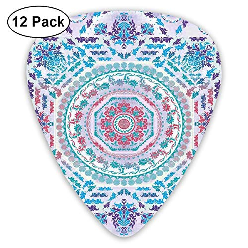 (Guitar Picks 12-Pack,Medallion Design Floral Patterns And Leaves Boho Hippie Style Prints)