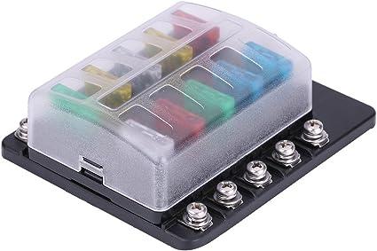 Qiilu Caja de fusibles de fusible mediano,10 vías Caja de fusibles ...