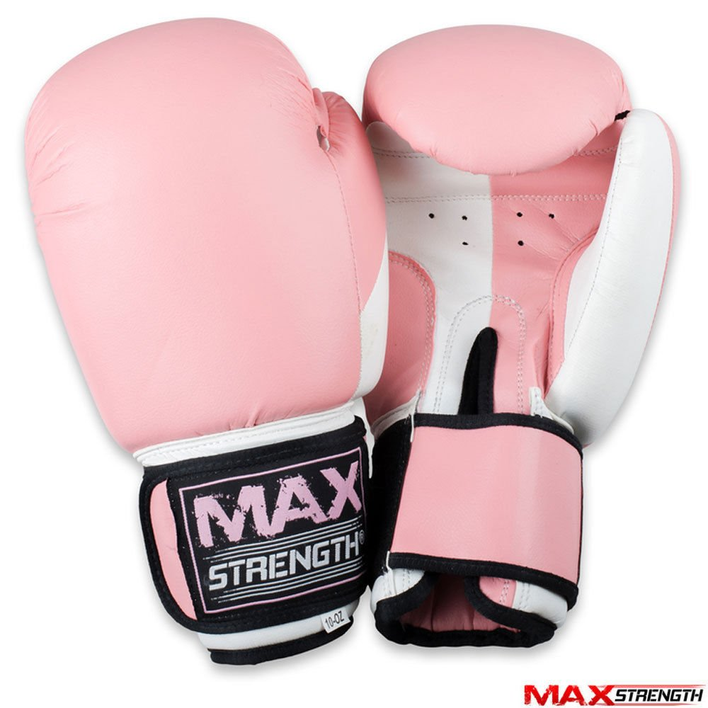 MAXSTRENGTH Ladies Boxing Focus Pink Pad Set Hook and Jab Punch Training Sparring Boxing Gloves