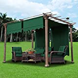 GHP 2-Pcs Green UV30+ Polyester 15-1/2' x 4' Pergola Canopy Replacement Cover