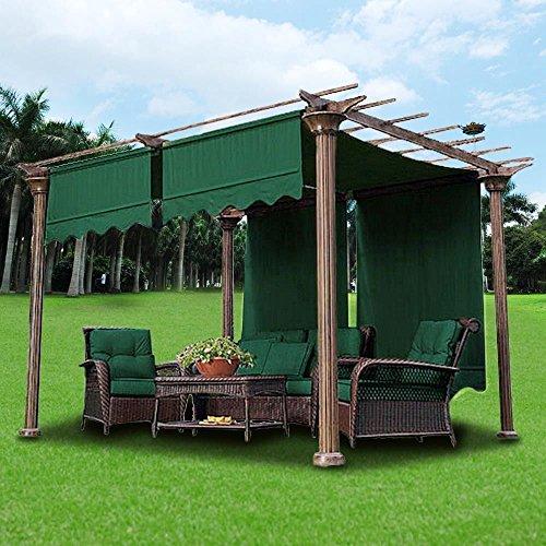 2pcs 15.5x4Ft Pergola Canopy Replacement Cover Gazebo Yard Green w/ Valance