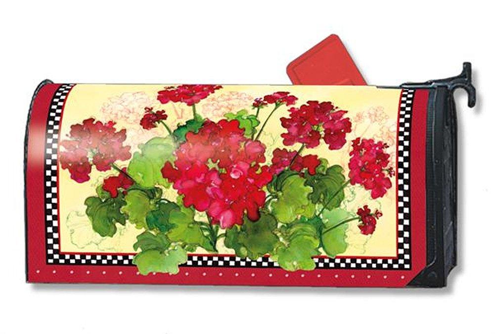 MailWraps Geraniums and Checks Mailbox Cover #01191