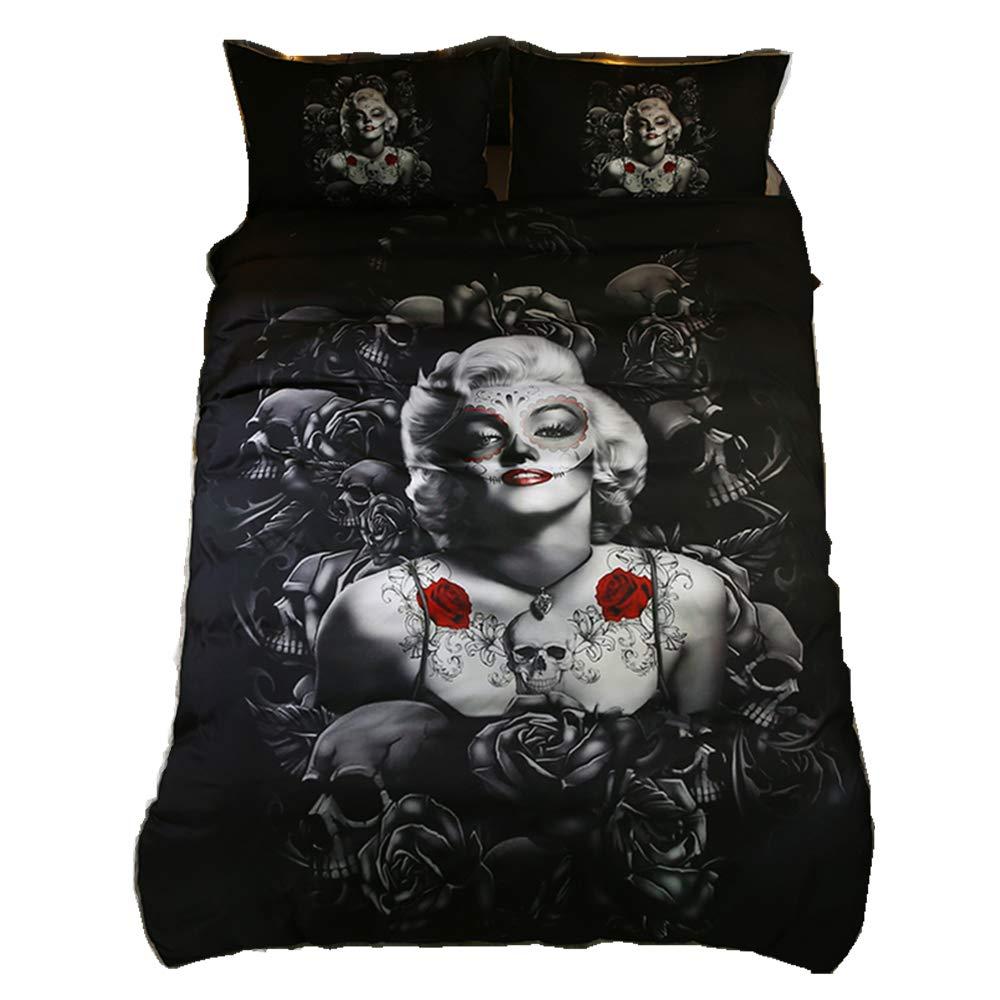 Home4Joys Rose Skull Sexy Marilyn Monroe Bedding Sets Pillows Case Duvet Cover Bedding Comforter Set Cotton Size Queen/Full Black