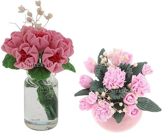 6 Mix Vase Dollhouse Miniatures Ceramic Supply Flower Deco Tableware Home