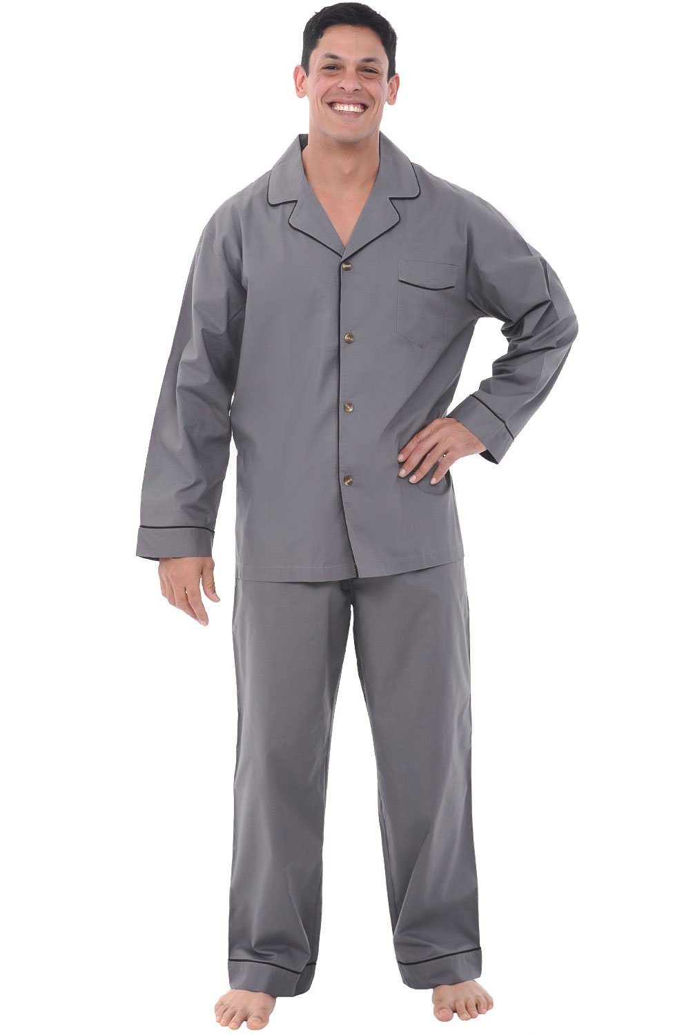Alexander Del Rossa Mens Cotton Pajamas, Long Woven Pj Set, 2XL Steel Grey (A0714STL2X)