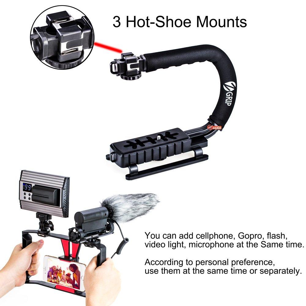 Zeadio 2-in-1 Multifunctional Triple Hot-Shoe Handheld Stabilizer with Zeadio Smartphone Video Rig