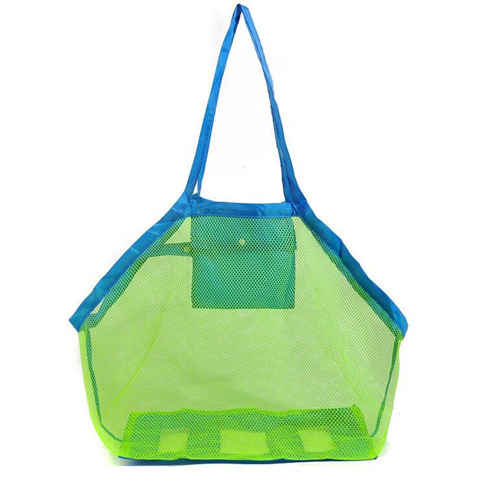 Vi.Yo, grande borsa a rete per i giocattoli, tiene lontani sabbia e acqua, per la spiaggia, ideale per riporre giocattoli per bambini, palline, conchiglie o altri articoli da spiaggia. blu Blue