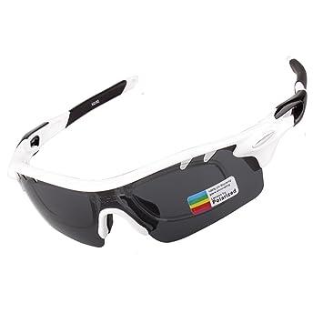 xqhd anti niebla polarizadas gafas de deporte con 4 lentes intercambiables, Blanco | negro