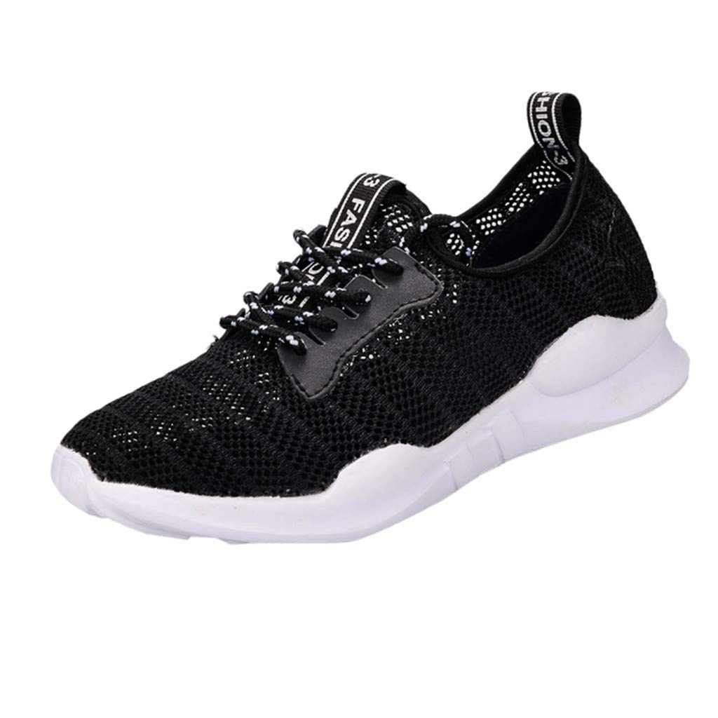 HENWERD Womens Fashion Outdoor Lace-Up Sports Shoes Casual Run Breathable Sneakers (Black,7.5 US)