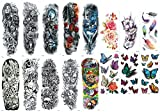 Nutrition Bizz Extra Large Full Arm Temporary Tattoos Cute Tattoos For Men & Women and Glitter Tattoos For Kids, 16 Sheets Princess Unicorn Butterfly Rainbow Waterproof Stickers for Arms Shoulders Che