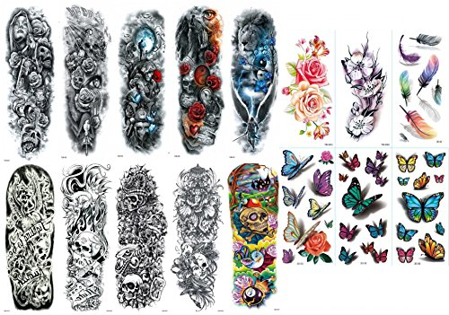 Nutrition Bizz Extra Large Full Arm Temporary Tattoos Cute Tattoos For Men & Women and Glitter Tattoos For Kids, 16 Sheets Princess Unicorn Butterfly Rainbow Waterproof Stickers for Arms Shoulders Che by NutritionBizz