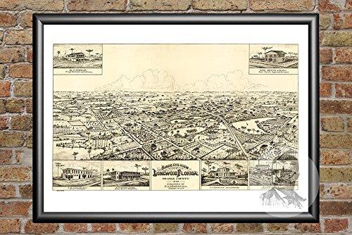 Ted's Vintage Art Longwood Florida 1885 Vintage Map Print | Historic Orange County, FL Art | Digitally Restored On Museum Quality Matte Paper 18