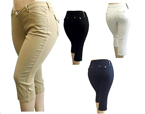 1826 JEANS Stretchy premium Twill CAPRI Pants High Waist Womens ...